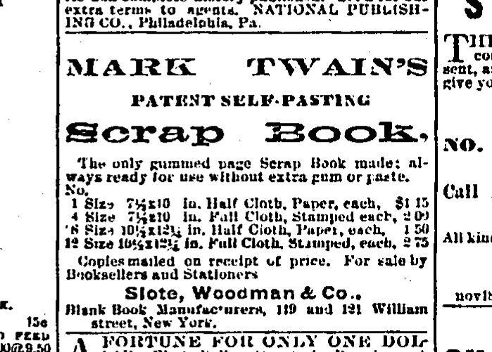 An advertisement published in the Courant on Dec. 8, 1876, for Mark Twain's Patent Self-Pasting Scrap Book.