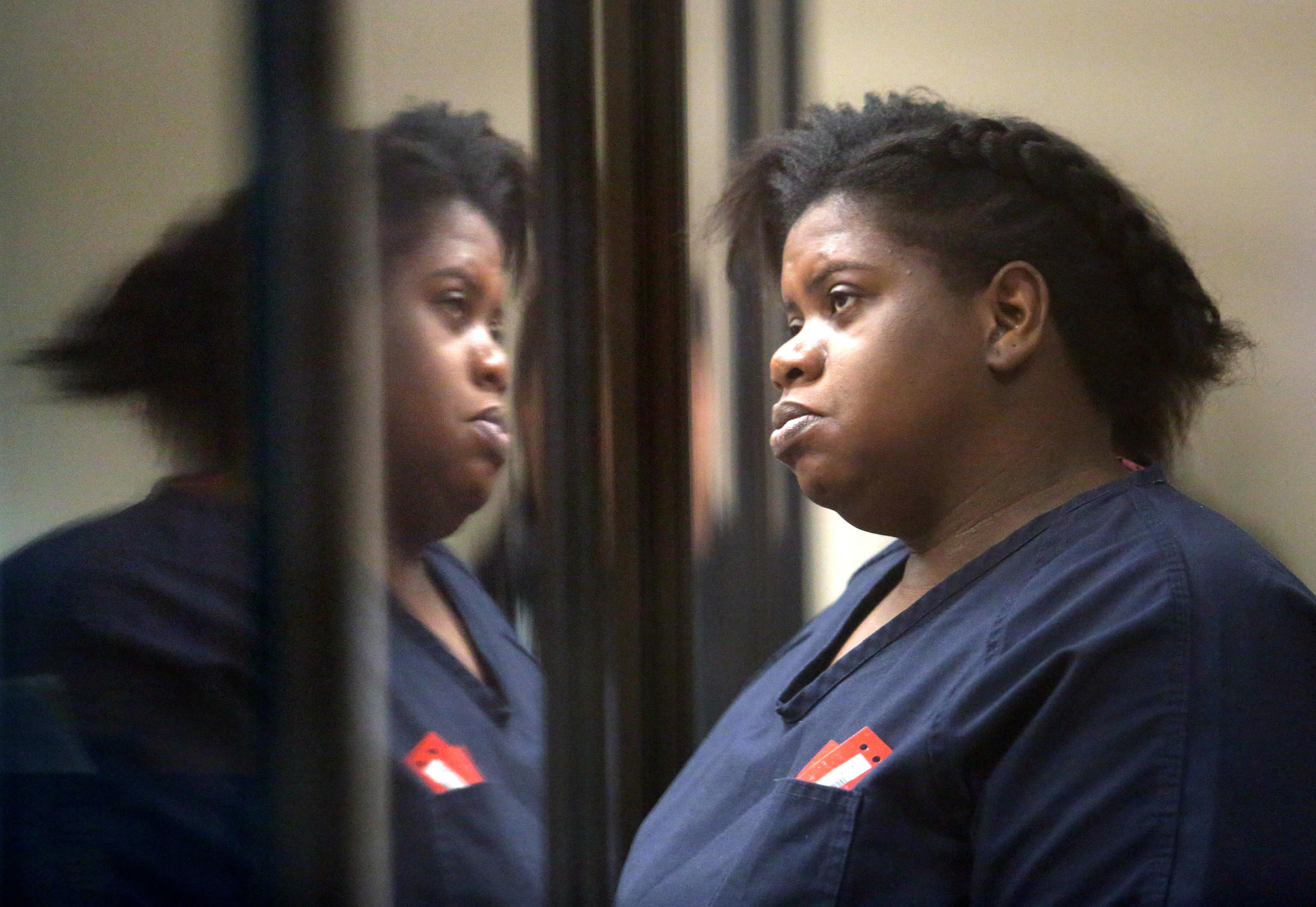 Rachel Fryer, charged in the death of her child, makes a first appearance in circuit court from the Seminole County Jail, in Sanford, Tuesday, February 11, 2014. (Joe Burbank/Orlando Sentinel)