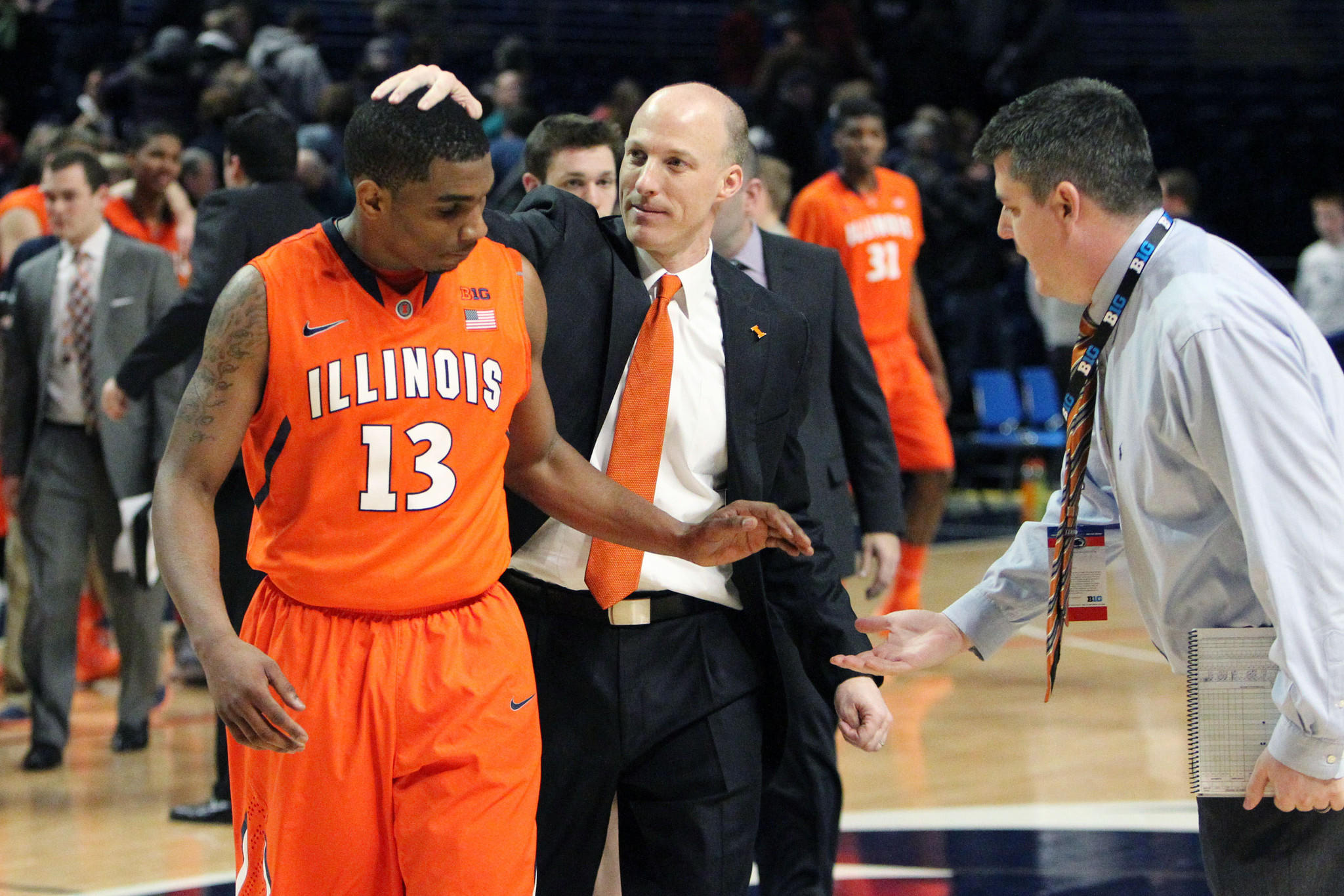 Tracy Abrams celebrates with coach John Groce after the win over Penn State.