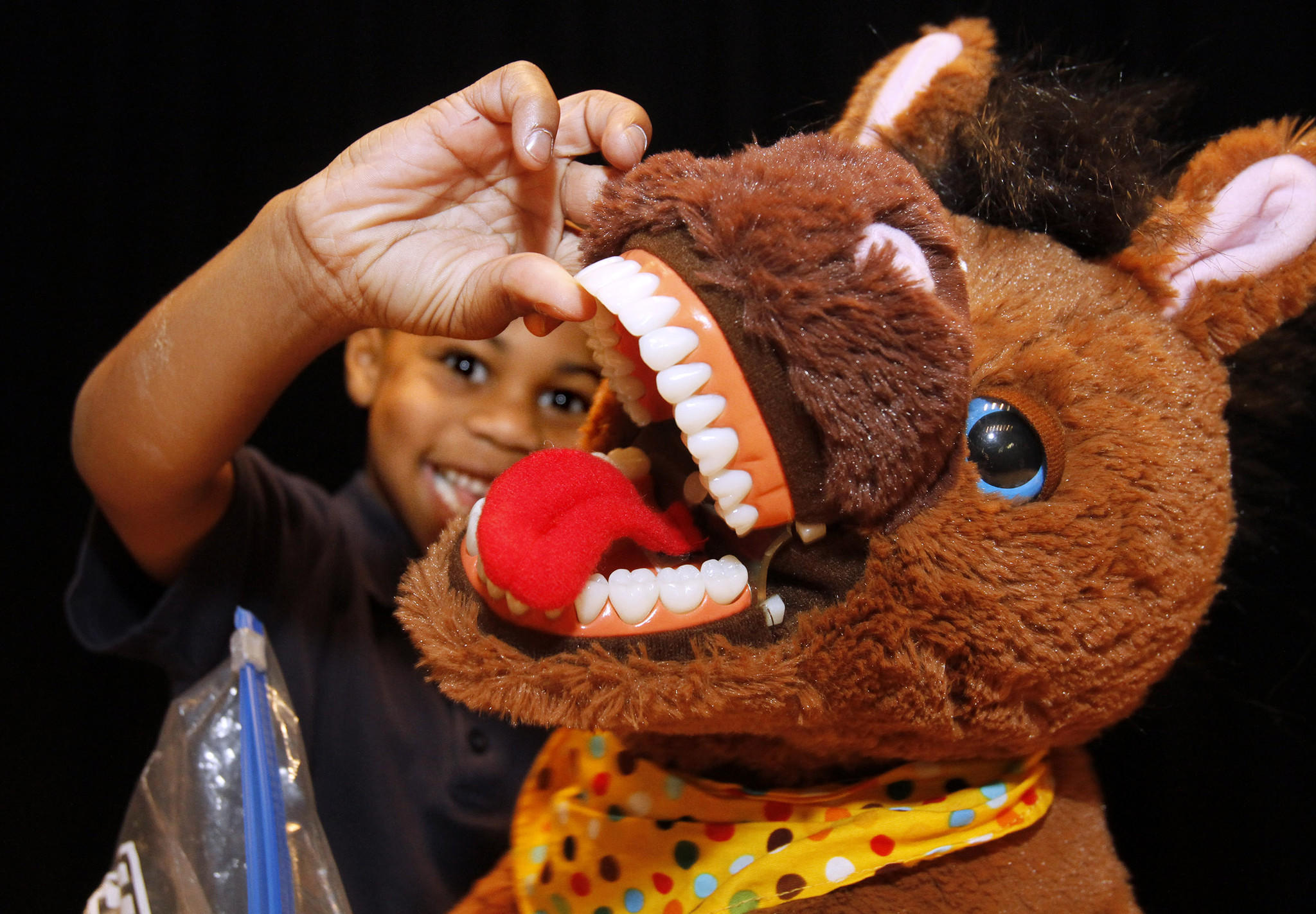 "Kindergartener Jamaal Bradford, 6, looks at a stuffed horse's teeth during the ""Give Kids A Smile"" day dental clinic at George Washington Elementary School in Burbank on Tuesday, Feb. 11, 2014. The event was sponsored in part by Henry Shein, Colgate, the American Dental Association and the Kids Community Dental Clinic."