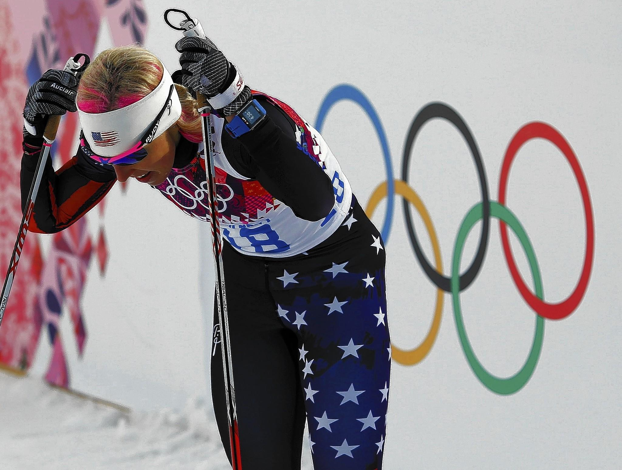 U.S. cross-country skier Kikkan Randall gathers herself after Tuesday's race at the Sochi Winter Olympics.