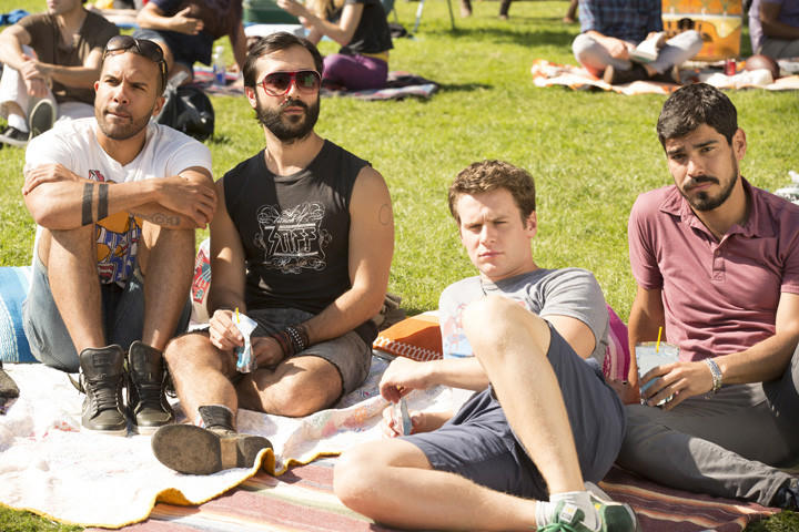 "O-T Fagbenle (from left), Frankie J. Alvarez, Jonathan Groff and Raul Castillo in Episode 6 of HBO's ""Looking."""