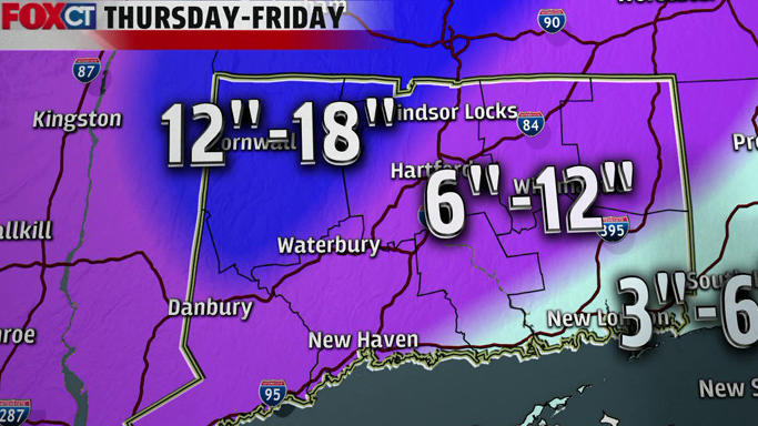 Projected snowfall totals for Thursday's storm.
