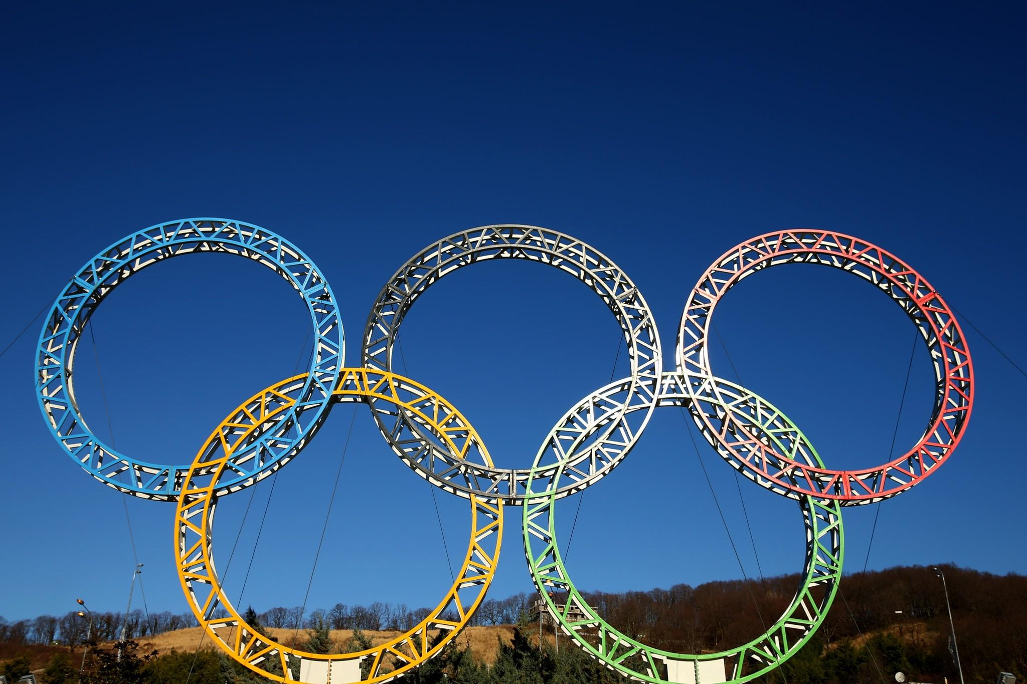 The Olympic Rings are displayed outside Sochi Intenational Airport.