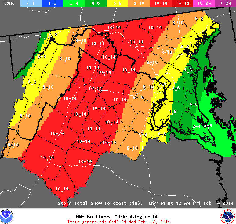 The National Weather Service predicts 6-10 inches of snow across most of the Baltimore area by Thursday evening.