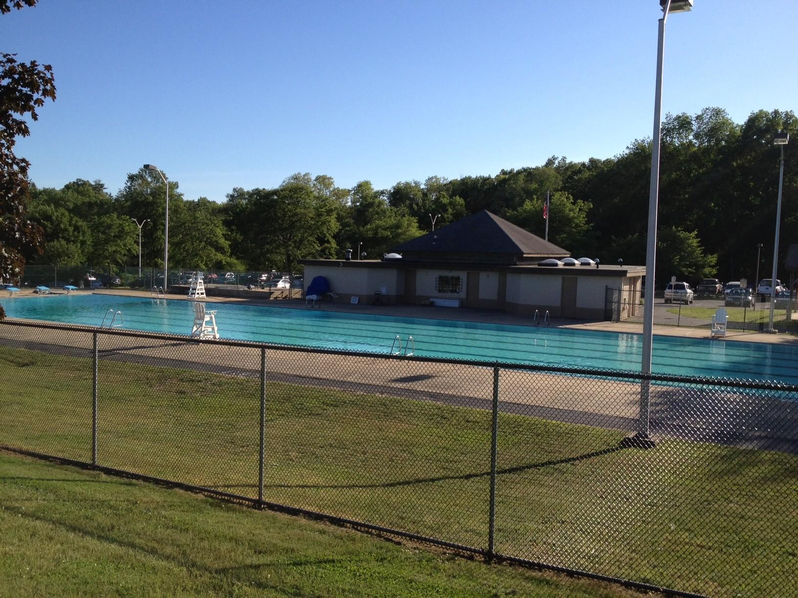The pool at Mills Pond Park in Canton. The board of selectmen have approved $113,600 to hire a contractor who will replace the deck of the pool.