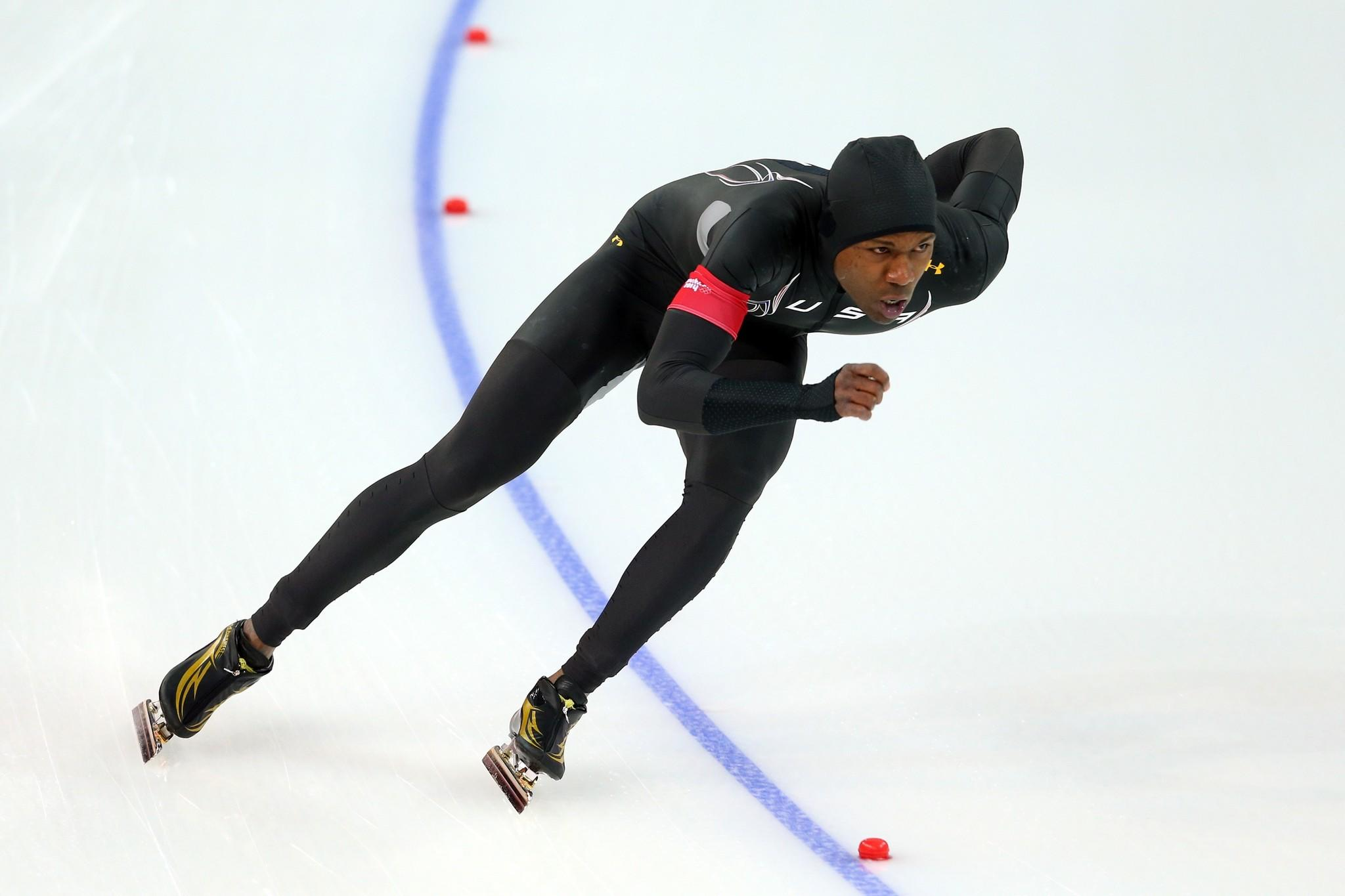 Shani Davis of the United States competes during the Men's 1000m Speed Skating event.