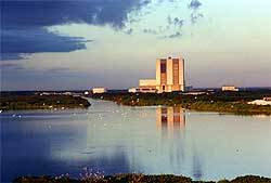 NASA's Kennedy Space Center's Vehicle Assembly Building and Merritt Island National Wildlife Refuge