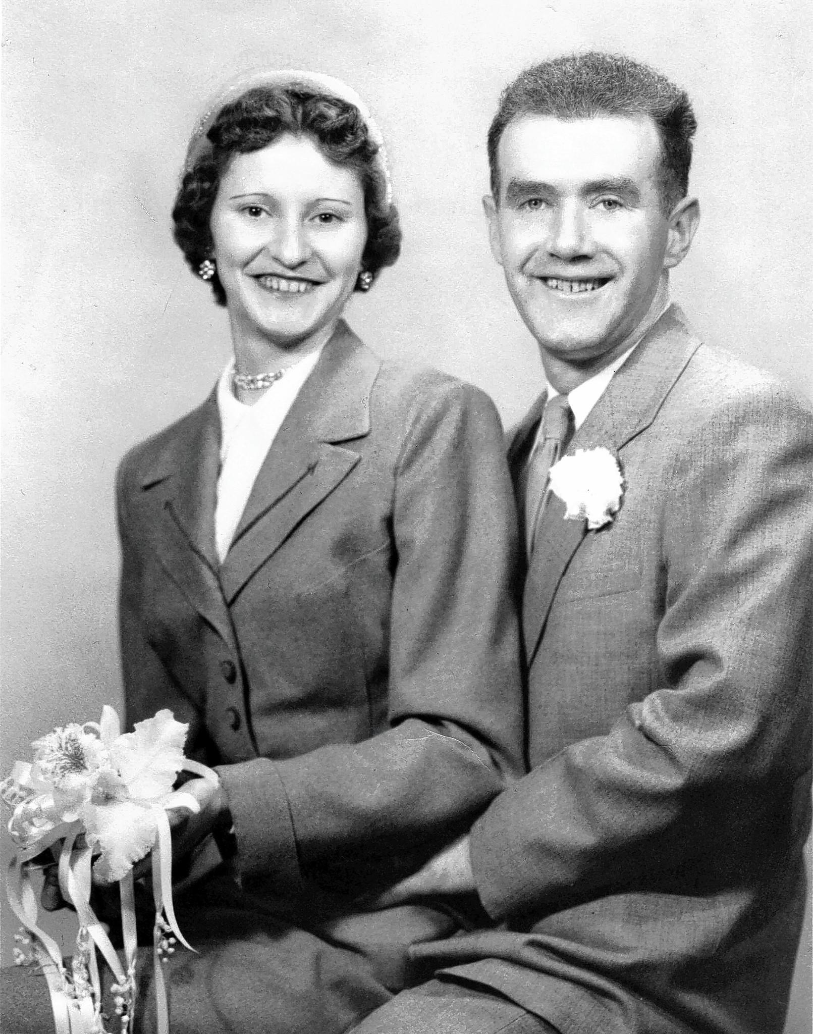 Armand Pouliot and his wife Constance Pouliot after getting married. Armand Pouliot was a World War II veteran who received two Purple Hearts, along with other decorations. He was part of the Company C, 150th Engineer Combat Battalion.