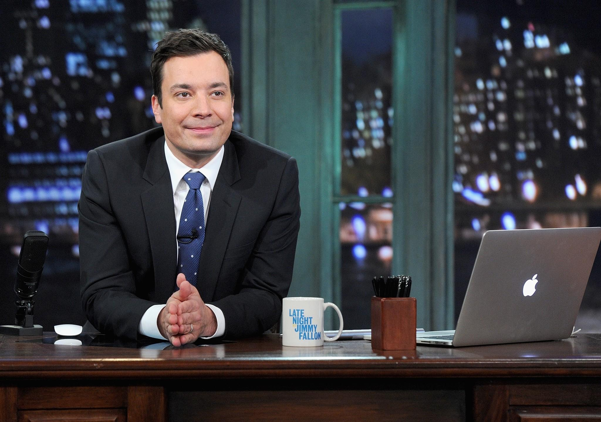 "Jimmy Fallon hosts ""Late Night With Jimmy Fallon"" at Rockefeller Center."