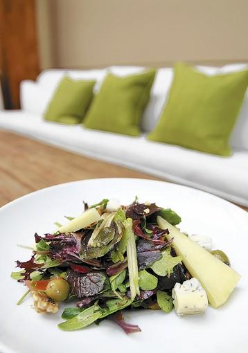 The signature Fig & Olive salad for which the Fig & Olive Restaurant in Fashion Island is named.