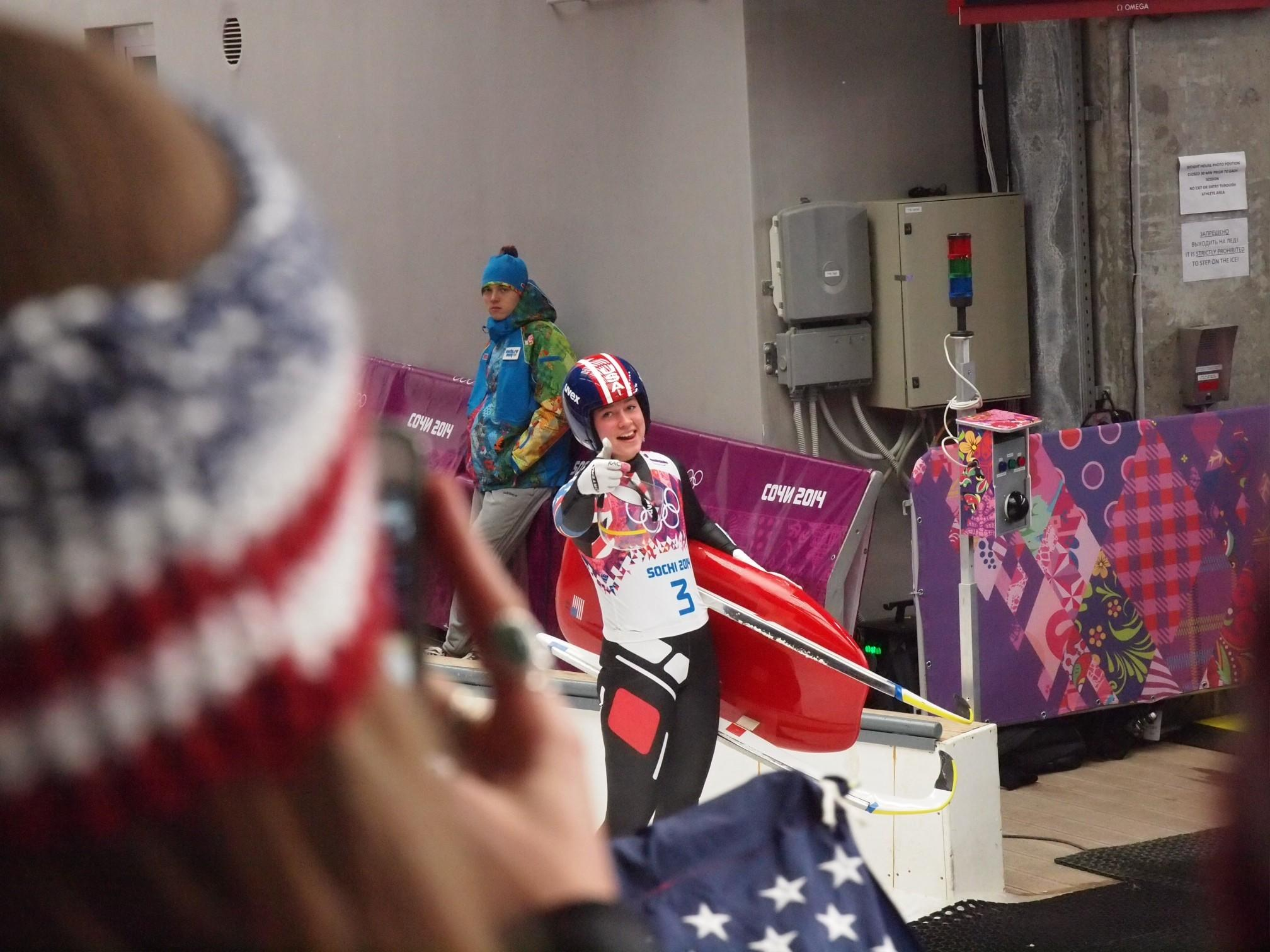 A view of Kate Hansen as she walks off the tracks in Sochi, Russia during the 2014 Winter Olympics. Hansen, a La Cañada resident, placed 10th in the competition.