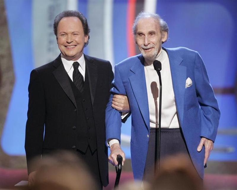 Legendary comedian Sid Caesar (R) accepts the TV Land Pioneer award presented by friend and comedian Billy Crystal.