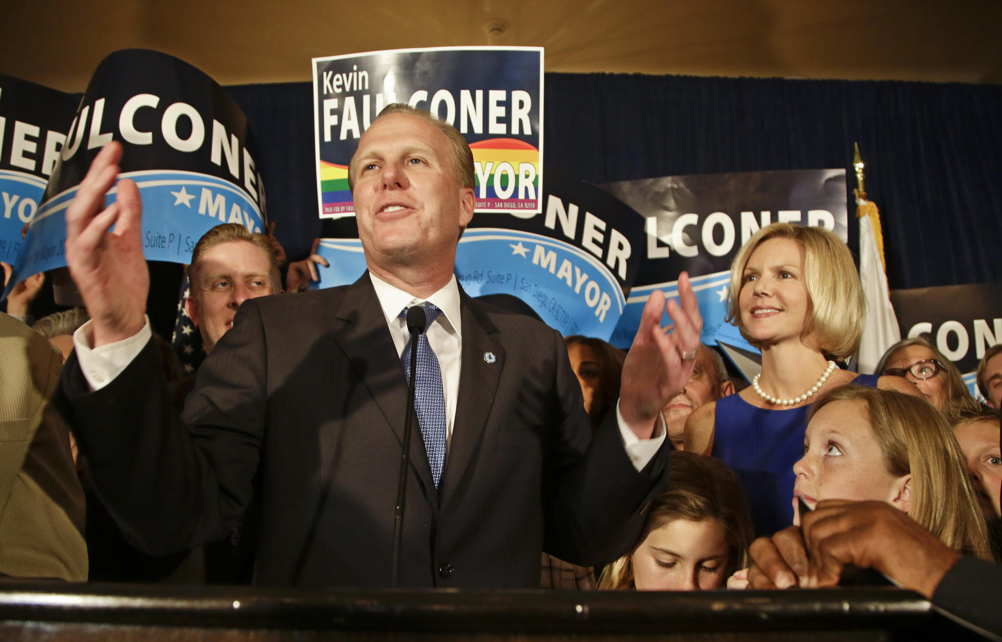 San Diego mayoral candidate Kevin Faulconer speaks to supporters just