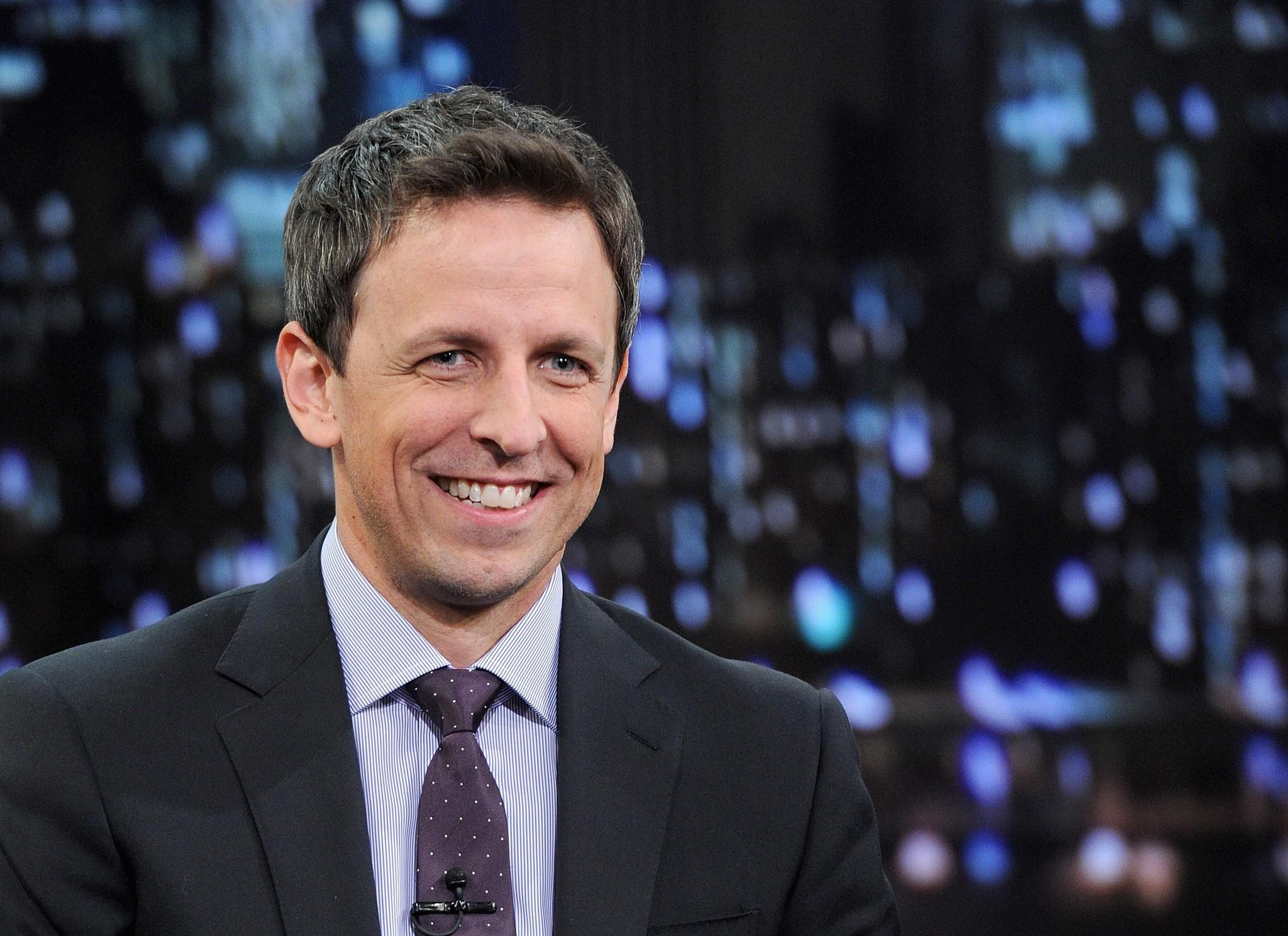"Seth Meyers visits ""Late Night With Jimmy Fallon"" at Rockefeller Center."