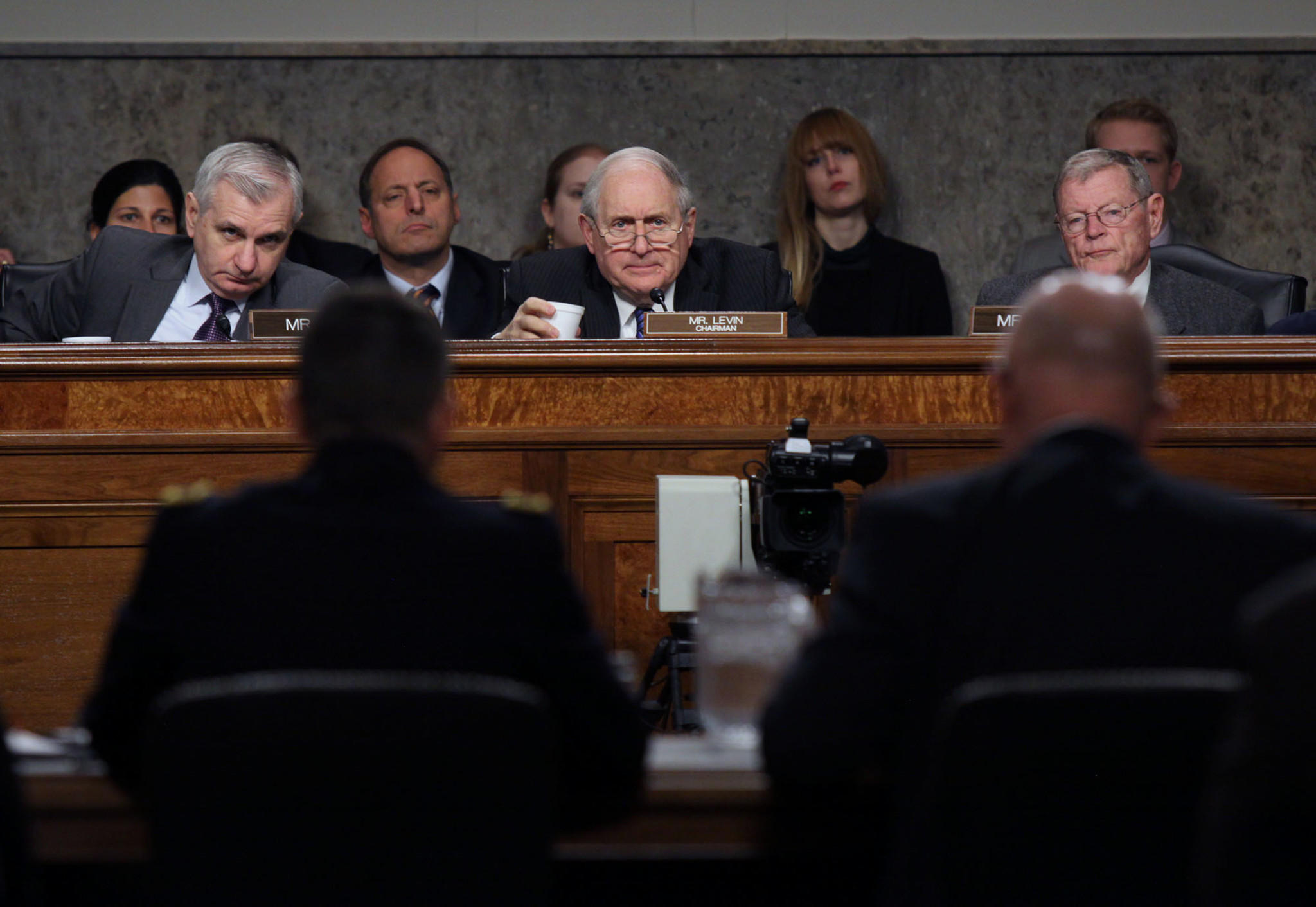 Sen. Carl Levin (D-Mich.), center, chairs a Senate Armed Services Committee meeting Tuesday. He tried without luck last week to broaden congressional oversight of lethal overseas drone strikes.