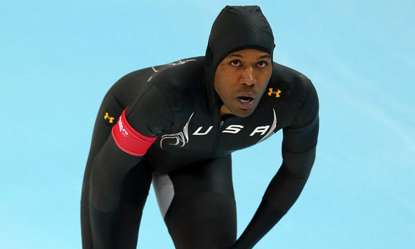 Shani Davis catches his breath after competing in the speedskating 1,000 meters at the Sochi Winter Olympic Games on Wednesday. Davis' eighth-place finish is just one of several disappointing performances by Americans in the first week of the Games.