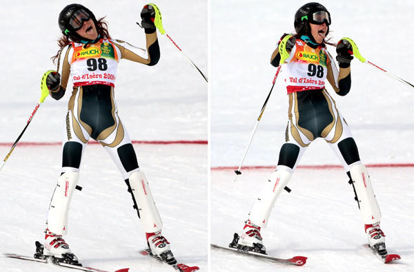 Jackie Chamoun of Lebanon reacts after completing her first run in the women's slalom at the world championships in Val d'Isere, France, in 2009.
