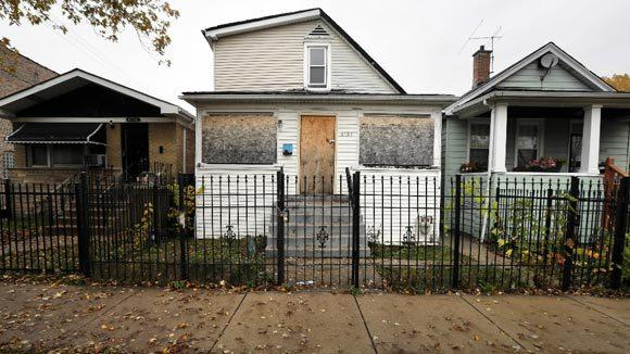 A foreclosed property on Erie Street in Chicago.