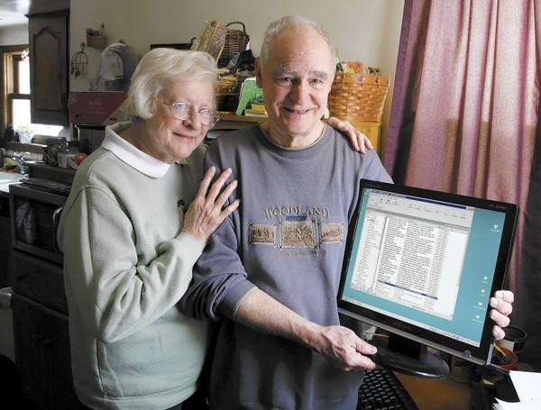 "Jo and Norm Hunt show her email account, restored Wednesday after being down since Jan. 30. Norm Hunt, who had tried for days to have the problem fixed, said his wife gets ""an uplifting of her emotional state"" through email contacts."