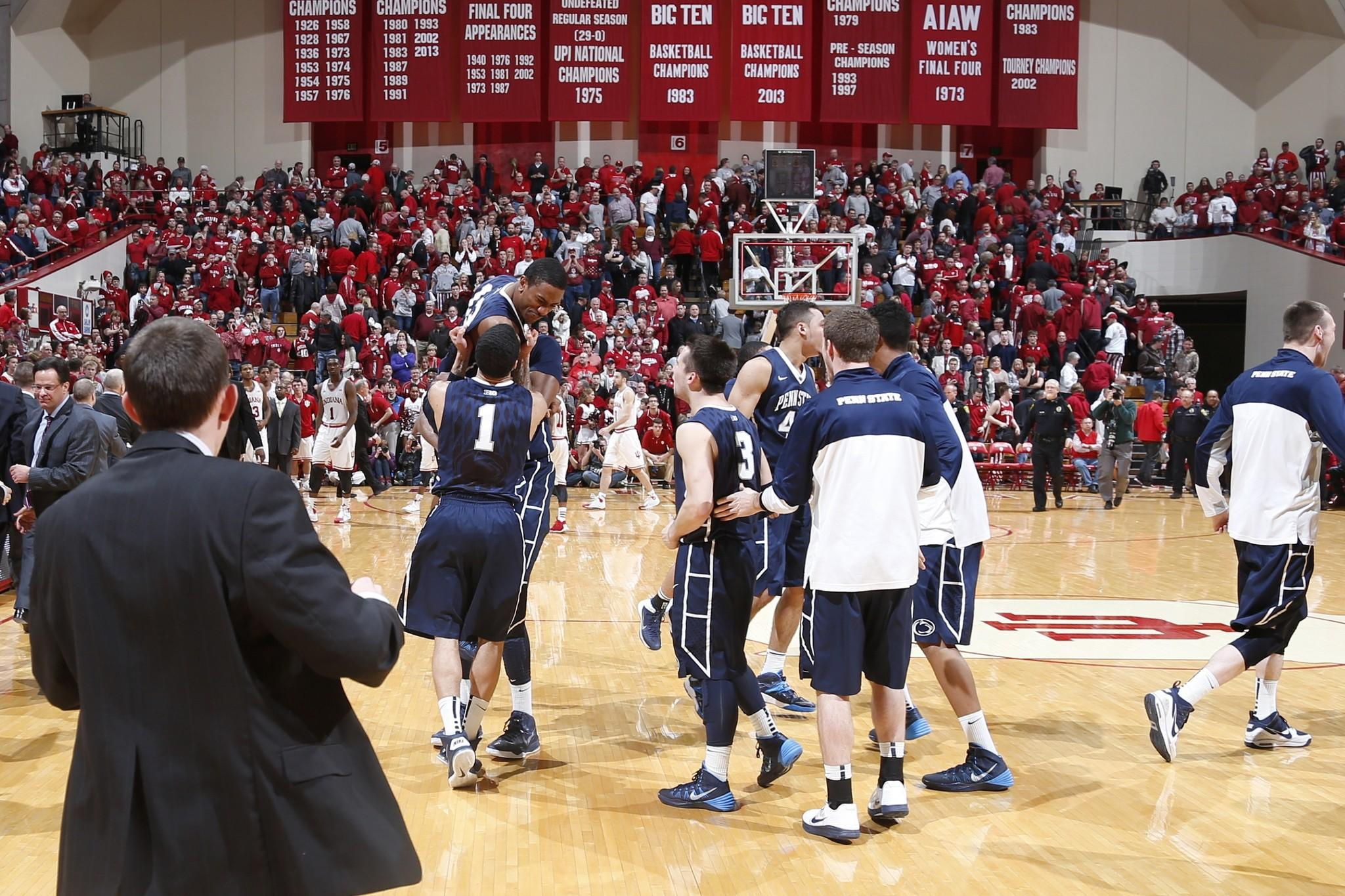 Penn State players celebrate after the win over Indiana at Assembly Hall.