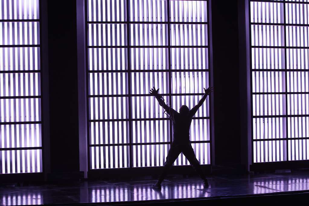 "Tenor Hal Cazalet in a scene from Tod Machover's ""Death and the Powers."""