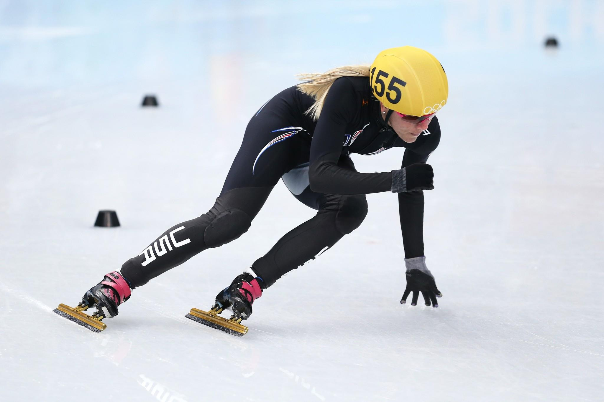 Emily Scott of the United States competes in the heats for the Short Track Speed Skating Women's 500.