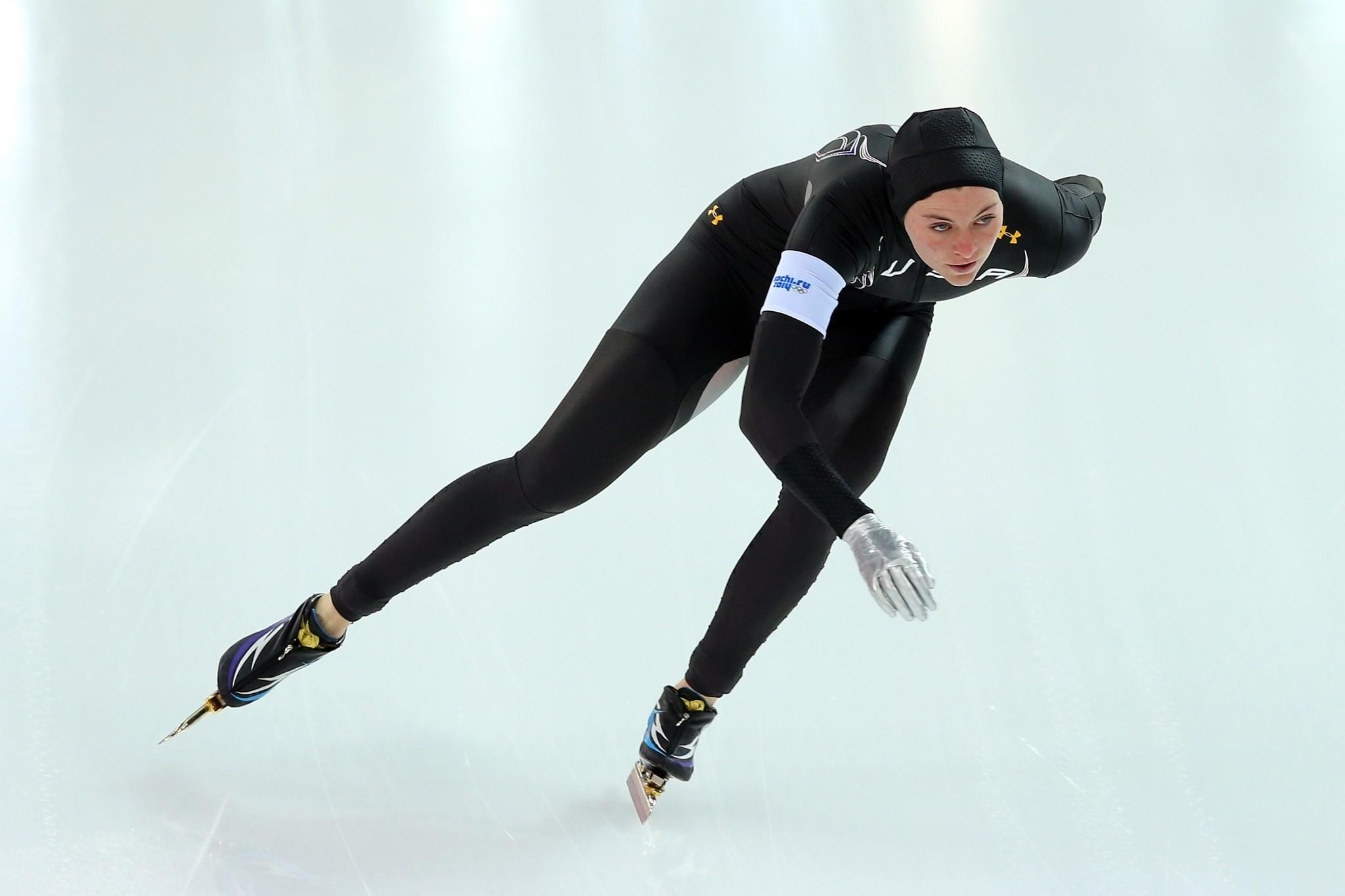 Heather Richardson of the United States competes during the Women's 1000m Speed Skating event.