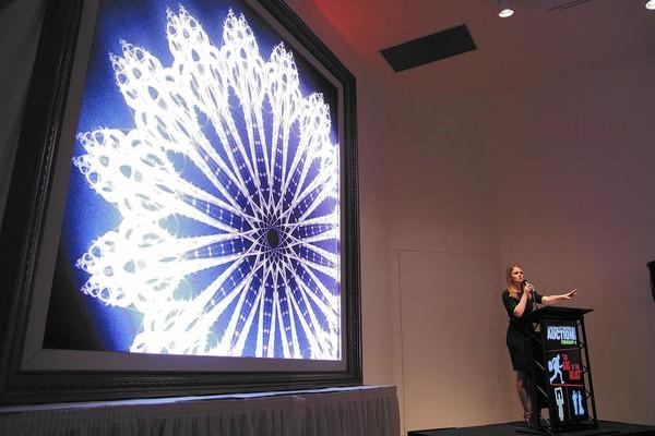 Elizabeth Turk's work is sold by Christie's auctioneer Charlie Adamski at Saturday's fundraiser at the Laguna Art Museum.