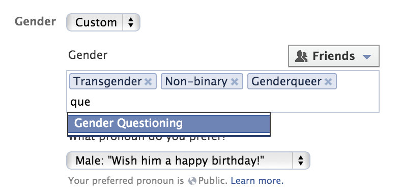 Facebook on Thursday made it possible for U.S. users to input a gender term other than male or female.