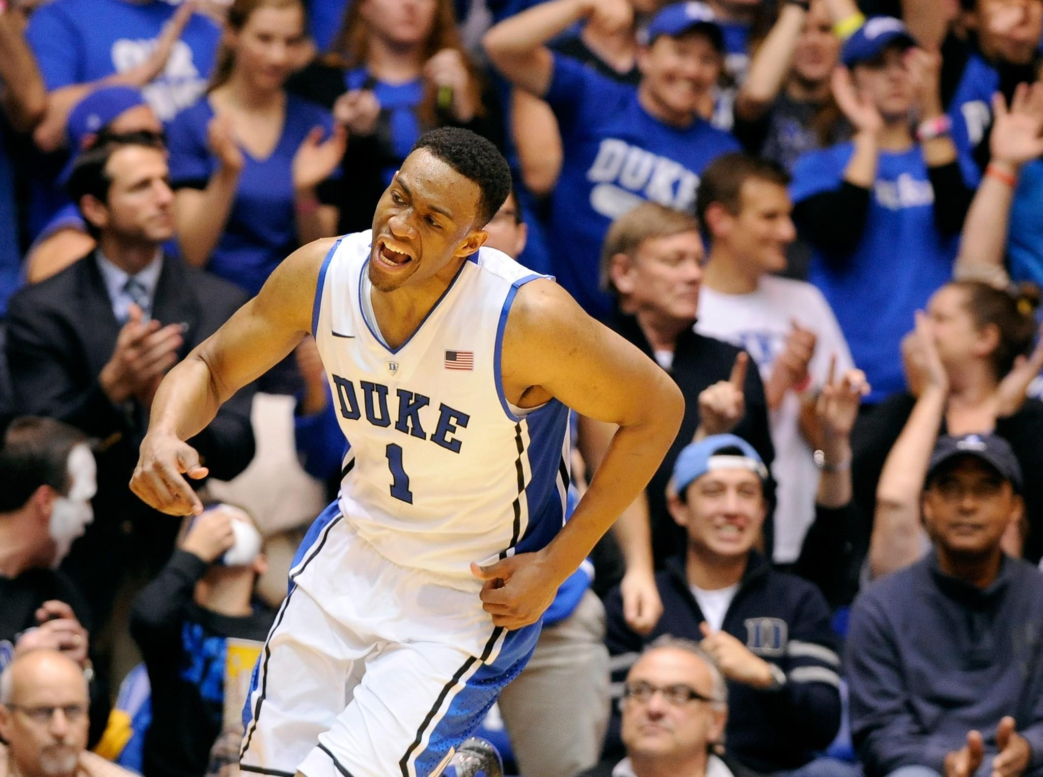 Jabari Parker of Duke reacts during their win against Wake Forest.
