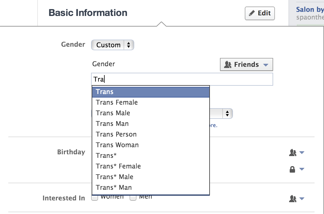Facebook has added a new custom field for users to select their gender identities.