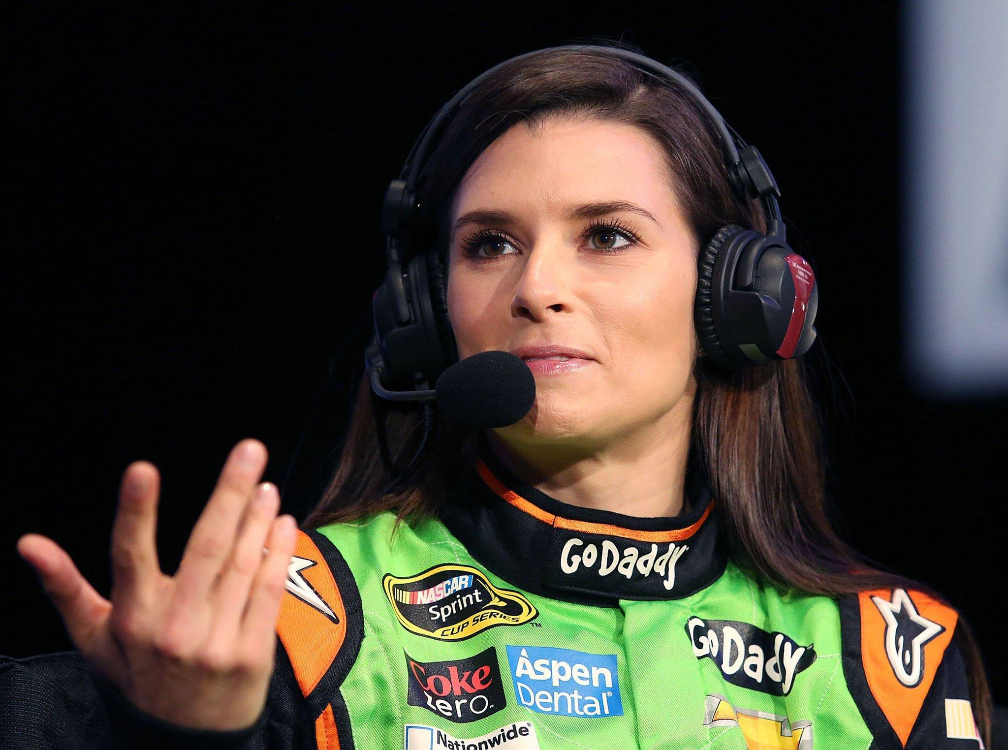 Danica Patrick answers questions during NASCAR Media Day.