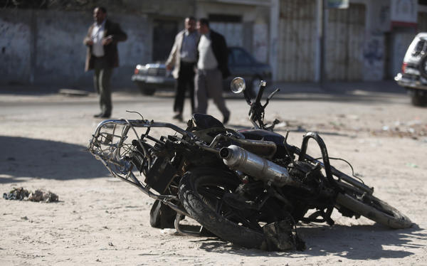 Israeli airstrike; damaged motorcycle