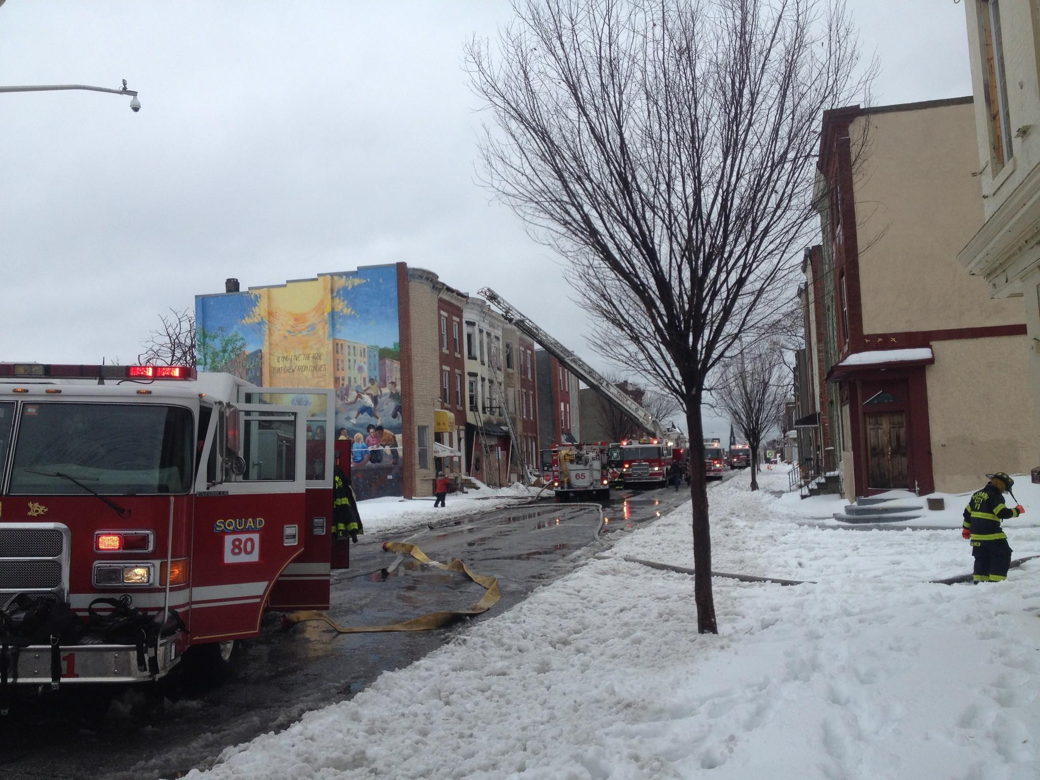 Baltimore fire department on the scene of a fire on Greenmount Avenue.