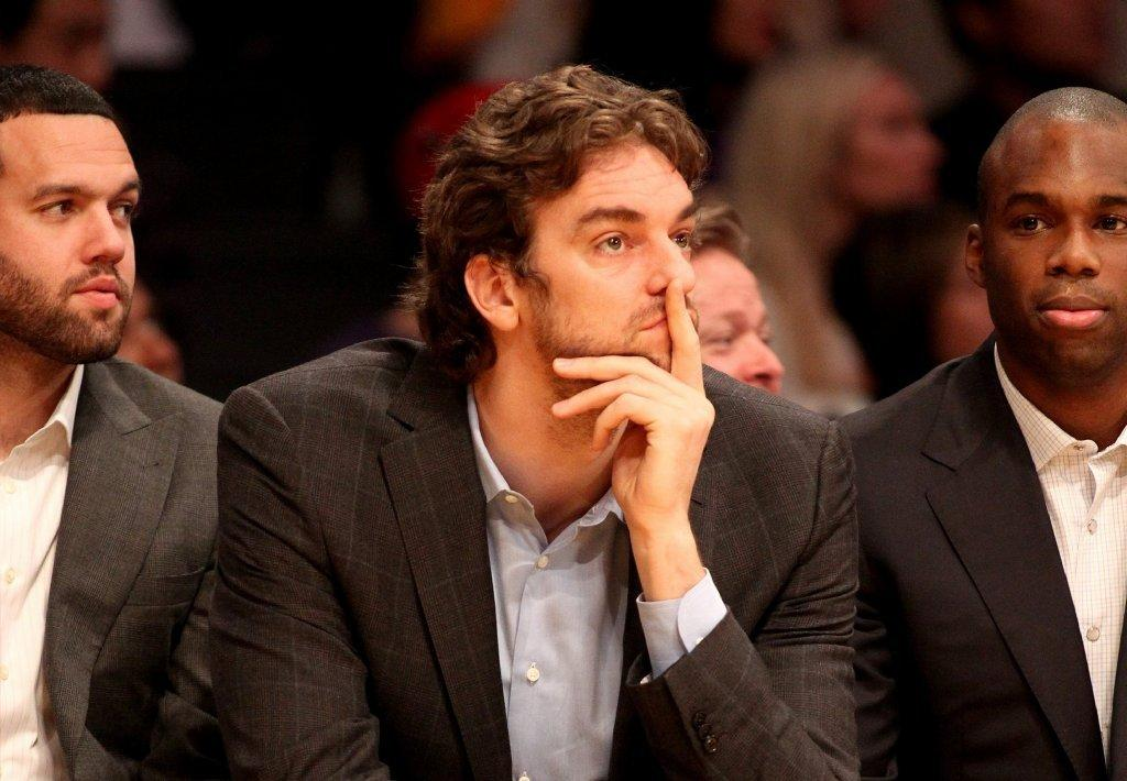 Lakers forward Pau Gasol watches his team play the Chicago Bulls on Sunday.