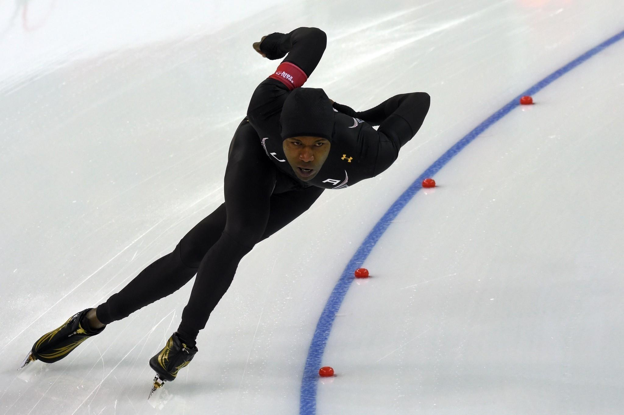 US Shani Davis competes in the the Men's Speed Skating 1000 m at the Adler Arena during the Sochi Winter Olympics on February 12, 2014. AFP PHOTO / DAMIEN MEYERDAMIEN MEYER/AFP/Getty Images ORG XMIT: 461431465