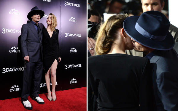 Johnny Depp and Amber Heard smooch on red carpet