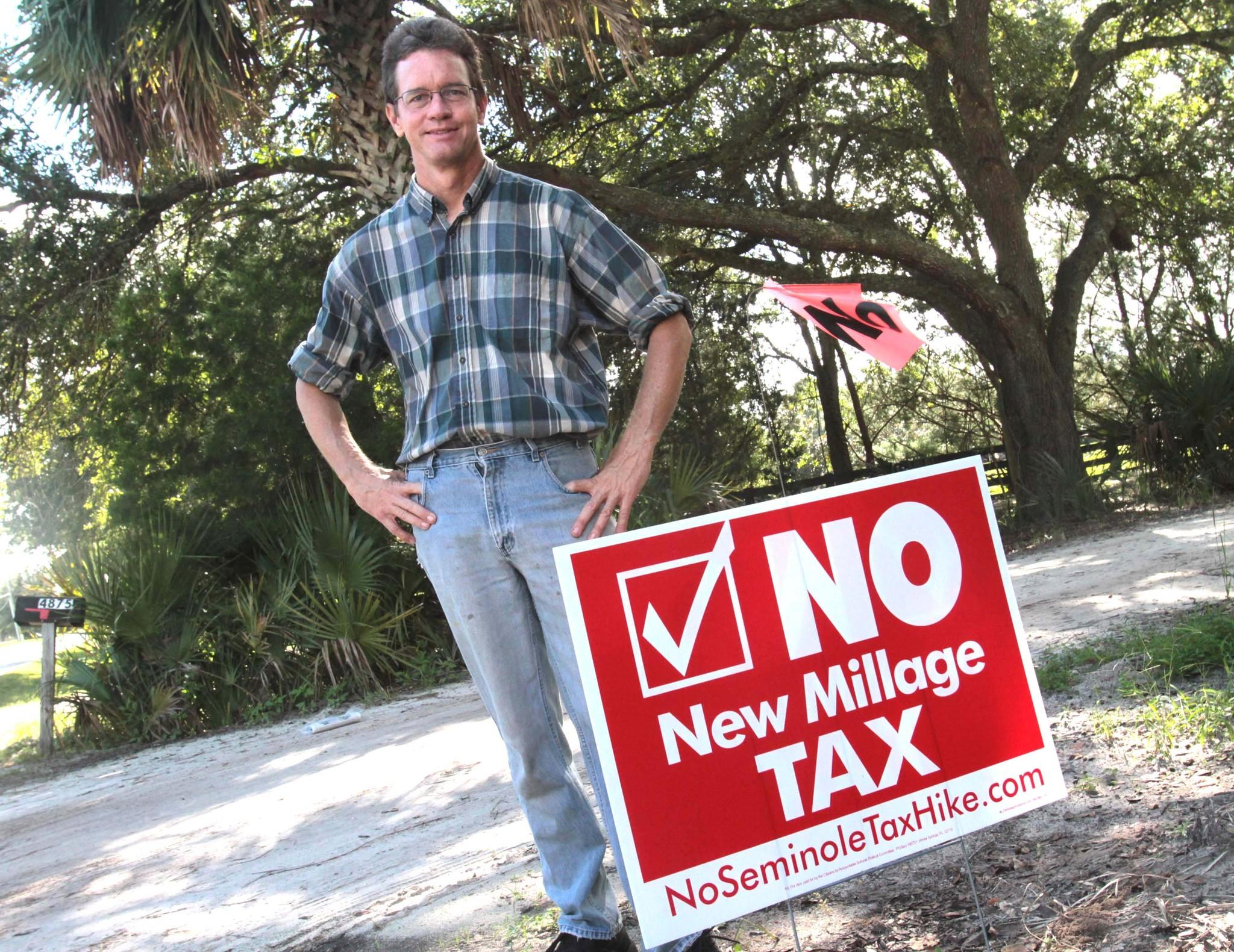 Grant Maloy, business owner, Gabriella Growers nursery off Tuskawilla Road stands by his sign against the tax increase for Seminole Schools. Sept 28, 2012 B582404025Z.1 (George Skene/Orlando Sentinel)