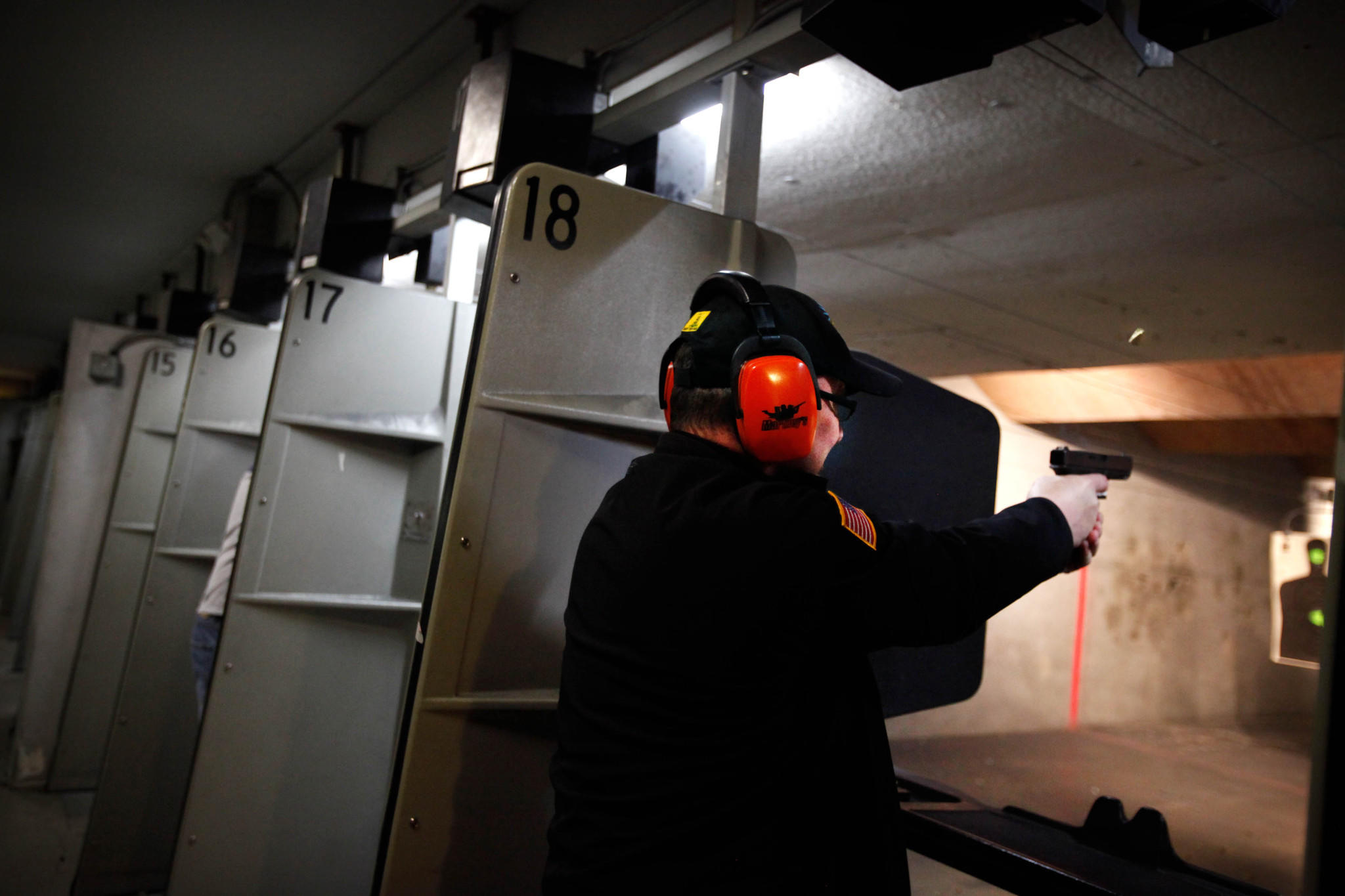 Tim Donnelly aimed a Glock 19 at a gun range last week. The weapon was borrowed from the range.