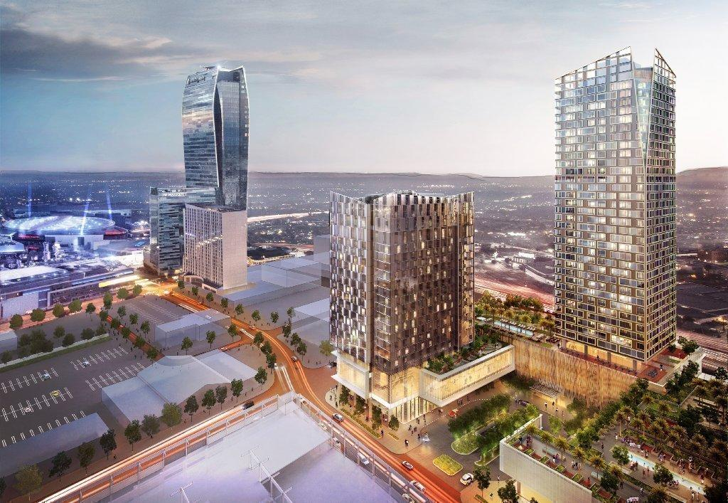 Greenland USA's Metropolis Los Angeles development is set to rise on Francisco Street downtown. The image shows the planned hotel, center, and residential tower at right.
