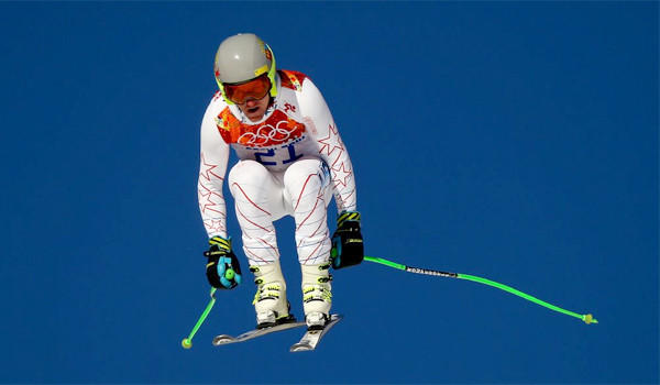U.S. skier Ted Ligety flies downhill during a downhill training run ahead of the men's super-combined at Rosa Khutor Alpine Center in Sochi, Russia.
