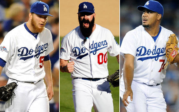 The Dodgers relief corps will feature (from left) J.P Howell, Brian Wilson and Kenley Jansen.