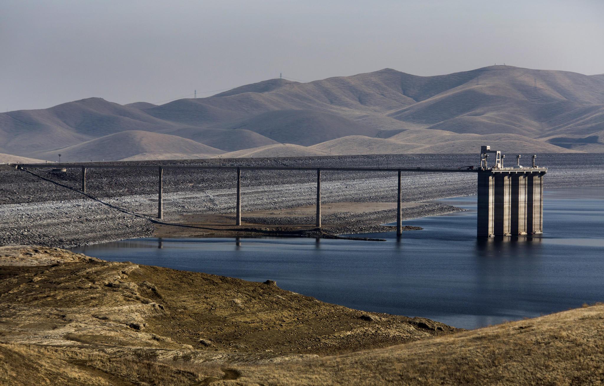 The San Luis Reservoir near Los Banos, Calif., is less than a third full.