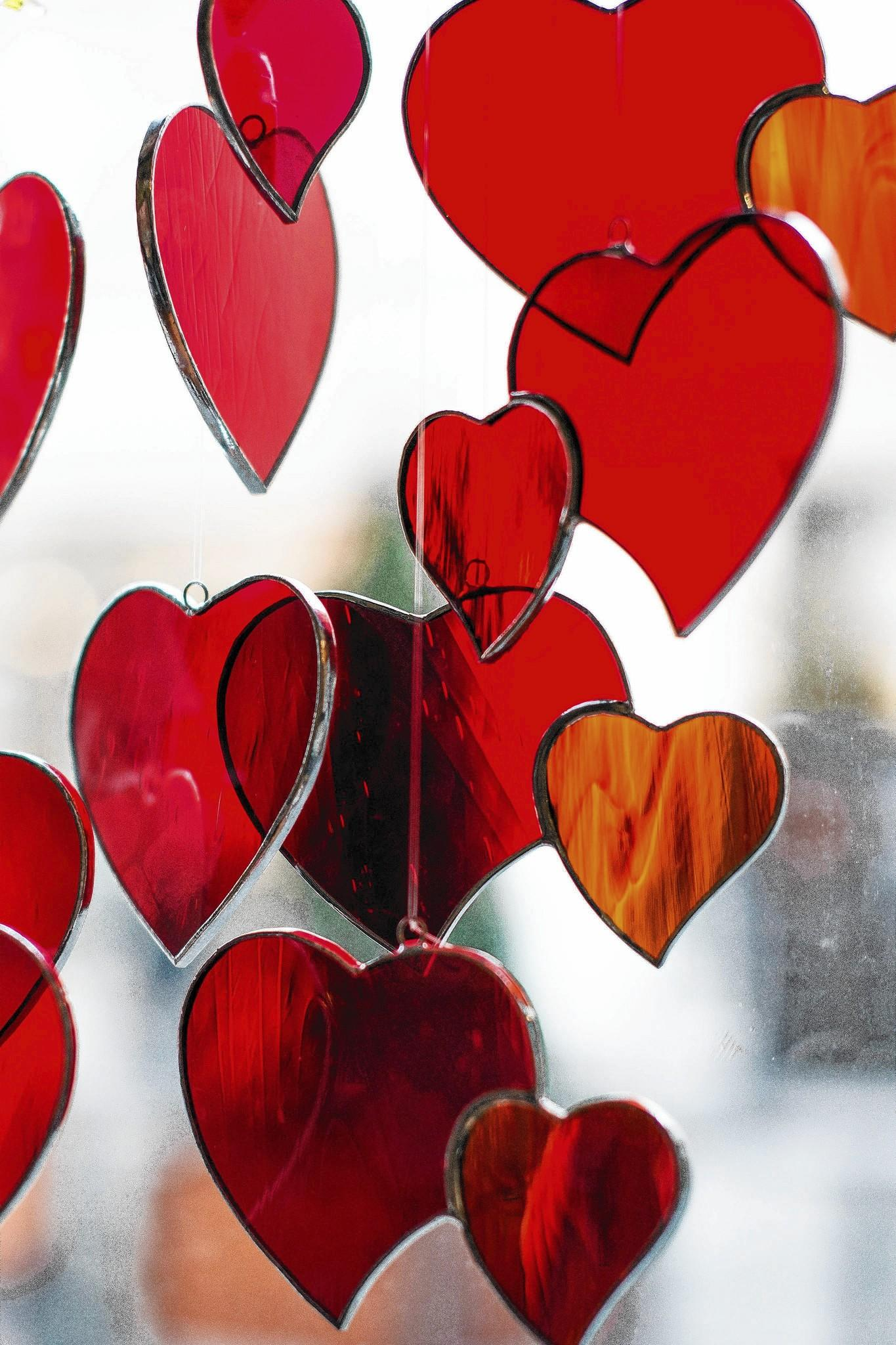 Valentine's Day decorations are on display in a shop window Thursday in Wroclaw, Poland.