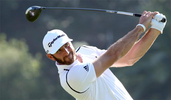Dustin Johnson holds the lead at the Northern Trust Open after a shooting a five-under par 66 in the first round of the tournament at the Riviera Country Club in the Pacific Palisades.