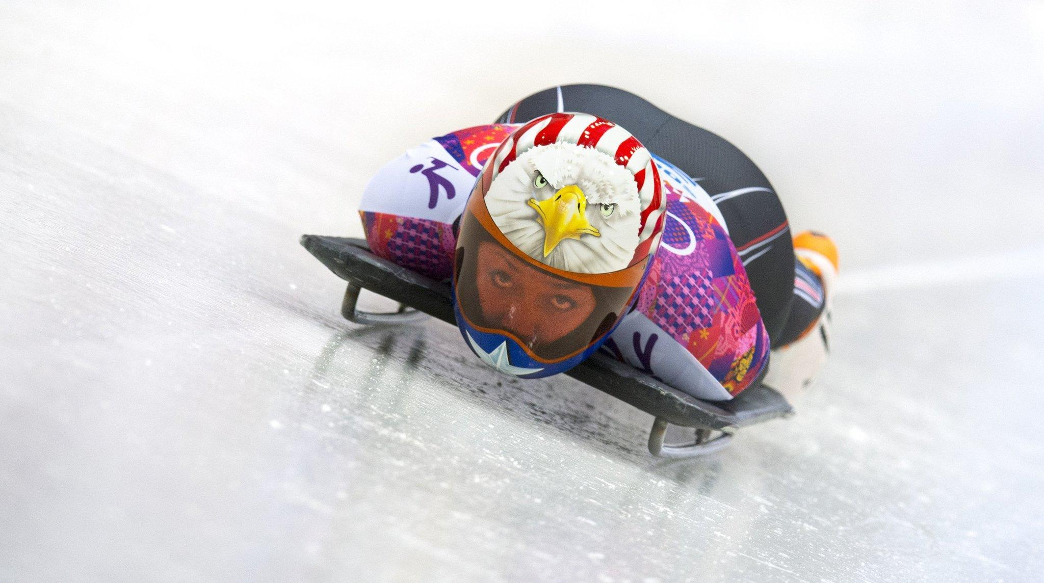 Katie Uhlaender on the track for her second qualifying run in the women's skeleton event.
