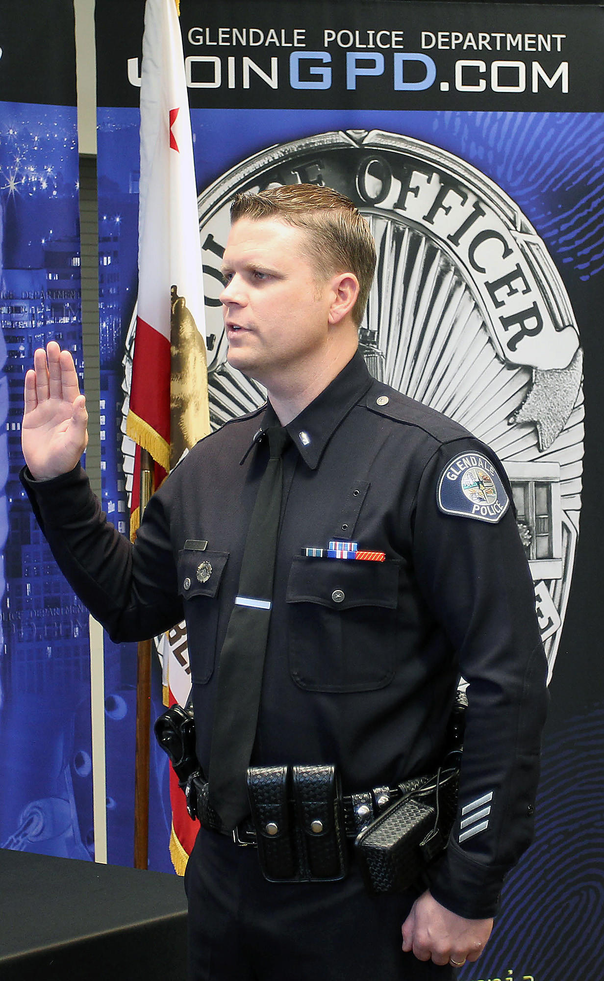 Sgt. Danny Carver was promoted to lieutenant at the Glendale Police Department on Wednesday.