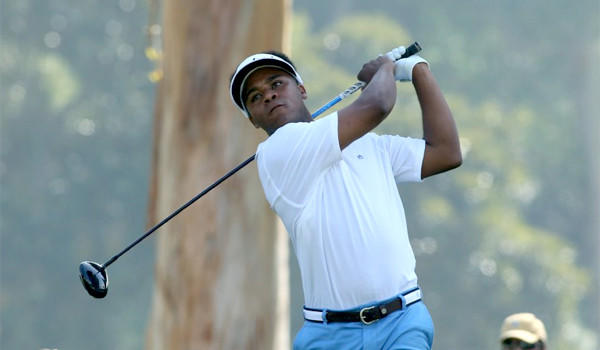 Harold Varner III hits a tee shot on the 9th hole in the first round of the Northern Trust Open at the Riviera Country Club.