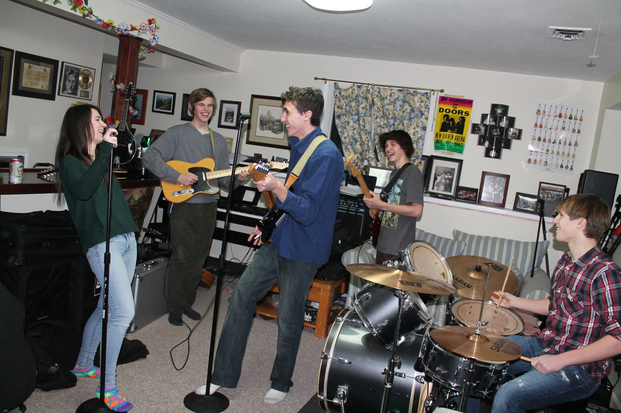 CRB, the band, practices in the basement of Corey Rieman's home.